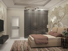 Просторная спальня с подвесной тумбой и дверьми из мдф в эмали Divider, Room, Furniture, Home Decor, Homemade Home Decor, Decoration Home, Home Furniture, Home Decoration