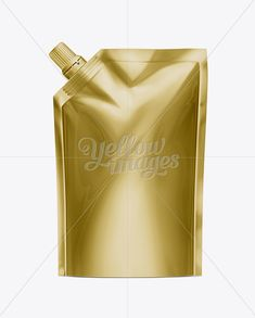 Golden Blank Doy-pack, Doypack Foil Food Or Drink Bag Packaging With Spout Lid. Plastic Pack Template.