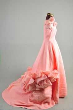VTG 50s 60s Debutante Long pink evening formal ball Gown Wedding dress S  #BridalFormal