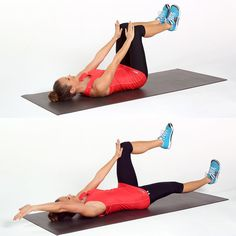 The name may make you laugh, but this stability exercise fires up the core, working both the front and back of the body.  Lie on your back with a neutral spine and your hips and knees at right angles with your palms pressed into your thighs just above