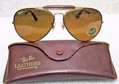 RAY-BAN *NOS VINTAGE B&L AVIATOR LEATHERS *TGM for DRIVING *NEW SUNGLASSES…