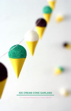 Hello Lately: MAKE IT // Ice Cream Cone Garland....another perfect one for Pinkie Pie party :)