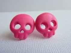 Hot Pink Skull Earrings, Polymer Clay Skull Earrings, Skull Post Earrings, Nickel Free, Halloween Skull Earrings