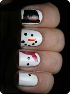 Snowman nails for winter/Christmas.  Cute for kids also