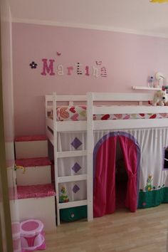 IKEA Kura bed with storage steps and play area beneath