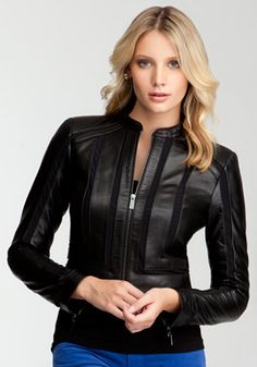 bebe   Leather & Mesh Moto Jacket - View All