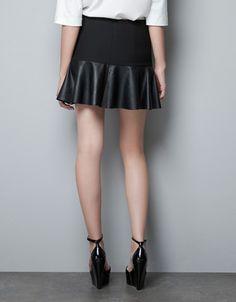 MINI FALDA VOLANTE PIEL - Faldas - Mujer - ZARA Ref. 7678/614
