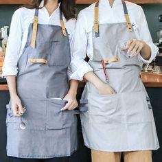 Full Length Gray/Khaki Cotton Linen Apron Barista Cafe Bistro Uniforms Waitress Painter Baker Florist Gardener Workwear B32