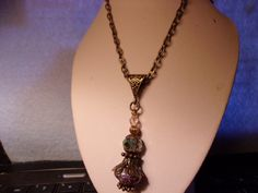 Victorian Style Jeannie in a Bottle Pendant with Antique Bronze 24 inch Chain, Steampunk, Mood Bead Pendant, Jewelry