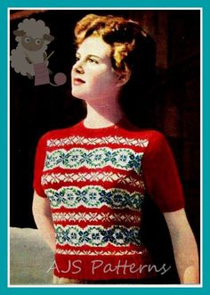 PDF Knitting Pattern for a Ladies 1940's Retro Fair Isle Sweater - Instant Download