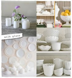 i LOVE milkglass and have several pieces. I especially love the idea of the plates on the wall!