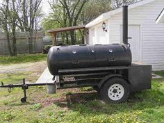 This is the building process that friends and I used to build a 250 gallon reverse flow smoker and put it on a trailer. My friends, Charlie . Bbq Smoker Trailer, Bbq Pit Smoker, Bbq Grill, Pit Bbq, Custom Bbq Smokers, Custom Bbq Pits, Barrel Stove, Propane Smokers, Backyard Covered Patios