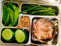 PlanetBox healthy lunch -  tuna salad to put onto cucumber slices. Side of snow peas and green beans.