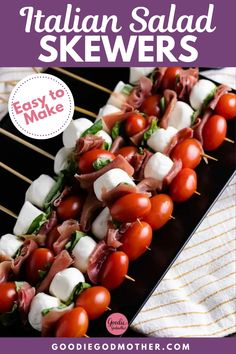 When you need a quick party appetizer, these easy Italian salad skewers are perfect. These skewers are a handheld version of the classic Caprese salad. This amazing appetizer can even be prepared a few hours ahead of time making it the perfect party food. This super easy-to-make appetizer requires little to no cook time to prepare. This will become your go-to appetizer for parties, potlucks, and barbecues. Italian Appetizers Easy, Easy To Make Appetizers, Easy Appetizer Recipes, Skewer Appetizers, Best Appetizers, Caprese Skewers, Caprese Salad, Starter Dishes, Italian Salad