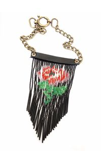 Icarus Jewelry Desert Flower Fringe Necklace in Black--On Sale