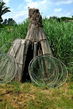 Traditional Pákász shelter in Tisza, Hungary. Pákász people inhabited bogs where they lived as fishers and bushcrafters.
