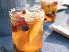 """Fruity White Sangria (Picnic at the Vineyard) - Trisha Yearwood, """"Trisha's Southern Kitchen"""" on the Food Network. Summer Drinks, Cocktail Drinks, Fun Drinks, Alcoholic Drinks, Cocktails, Bartender Drinks, Drinks Alcohol, Summer Fun, Food Network Recipes"""