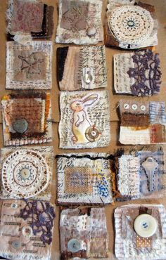 text + textiles art quilt I- workshop by Patti Digh and Jane Lafazio http://janelafazio.com http://www.37days.com/home