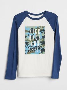 5d3cf08f39 Gap Boys Graphic Raglan T-Shirt New Off White Boys T Shirts