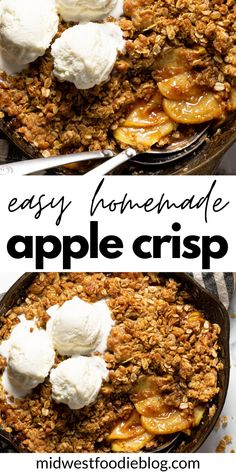 Quick Apple Crisp, Homemade Apple Crisp, Apple Crisp Recipes, Honeycrisp Apple Crisp Recipe, Honeycrisp Apples, Delicious Desserts, Dessert Recipes, Apple Desserts, Brunch Recipes