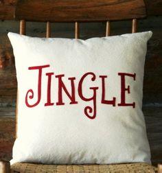 Jingle Christmas throw pillow cover,2013 Christmas cabin style pillow, Holiday Christmas Decor