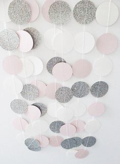 Silver Pink and White Circle Paper Glitter by PaperSunbeams
