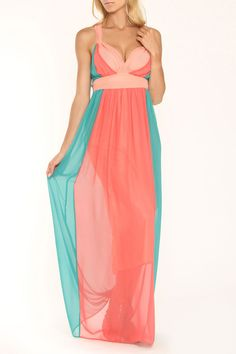 Andree Courtney Maxi Dress In Teal & Orange - Beyond the Rack