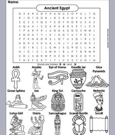 This Ancient Egypt word search also doubles as a coloring book!. The advantage to this is that students can actually see the concept behind the term they are attempting to find. The Solution to the puzzle is included. This Ancient Egypt Word Search/ Coloring Book contains the following terms: Ankh Anubis Cartouche Eye of Horus Gazelle Jar Giza Pyramids Great Sphinx Isis King Tut Lotus Girl Nefertiti Osir...