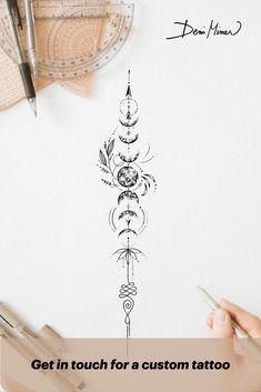 Moon Cycle Tattoo, Moon Phase Tattoo, Tattoo Moon, Body Tattoos, Sleeve Tattoos, Tatoos, Line Art Tattoos, Tattoo Art, Geometric Arrow Tattoo