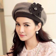 Warm flower beret hat for women bowler autumn winter hats
