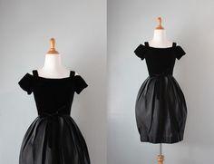 1960s Party Dress / Vintage 60s Tulip Skirt Dress / Black Satin Dress.