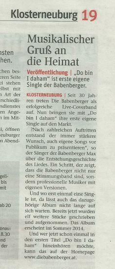 Ein großer Dank an die NÖN für diesen wunderbaren Artikel zu Do bin I daham. www.diebabenberger.at Event Ticket, Cover, Blankets