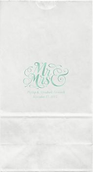 Mr. & Mrs. Large Mint Custom Favor Bags from Paper Source {love these!}