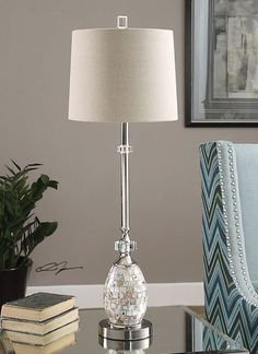 """29198 Ceredano Capiz Shell Buffet Lamp by Uttermost - 34"""" - On SALE at FineHomeLamps.com - FREE Shipping, No Hassle Returns, No Tax. Visit Today!"""