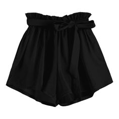 Smocked Belted High Waisted Shorts Black (180 MXN) ❤ liked on Polyvore featuring shorts, bottoms, zaful, pants, high waisted shorts, highwaist shorts, high rise shorts, belted shorts and smocked shorts
