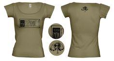 """Tee-shirt femme Vert Quelle heure on Mange? Création de t-shirts avec des créateurs du collectif """"T'as pas vu mon éléphant?"""" Site de créations fait main et d'illustrations. www.tpvme.com"""