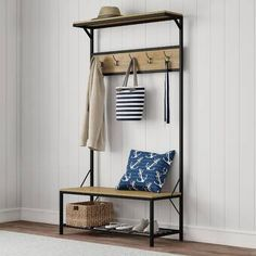 Entryway Storage Bench- Metal Hall Tree with Seat, Coat Hooks and Shoe Storage- Rustic Farmhouse Design Freestanding Mudroom Furniture by Lavish Home Shoe Storage Rustic, Entryway Bench Storage, Entryway Furniture, Bench With Storage, Living Room Furniture, Metal Furniture, Bench Mudroom, Hall Bench, Entry Bench