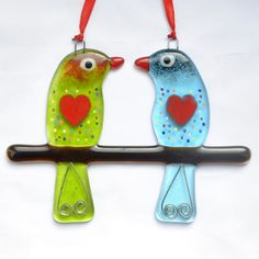 Fused Glass Hanging Ornament - Love Birds 01 – £14. Measures approximately 11 x 16cm. www.glassbygenea.co.uk #glassbygenea #fusedglass