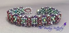 Double-Cross Bracelet: 3mm pearls and crystals with 15/o seed beads, or 4mm pearls and crystals with 11/o seed beads
