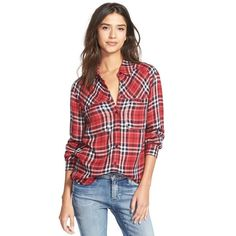 Ace Delivery Button Front Plaid Shirt featuring polyvore, fashion, clothing, tops, classic red, plaid shirt, rayon tops, red plaid top, plaid woven shirt and button front shirt