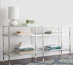 Tanner Long Console Table - Polished Nickel finish #potterybarn