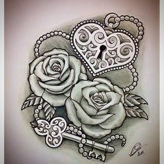 """Roses with Heart-Shaped Lock & Key"" by @leepawleytattooartist via http://ink361.com/app/users/ig-228402515/leepawleytattooartist/photos"
