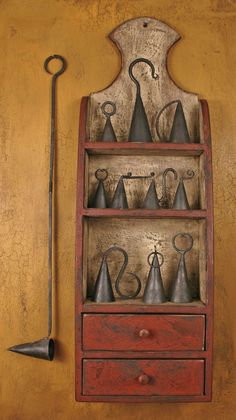 """""""Primitive Shelf...and old candle snuffers"""" ~ Now if that ain't the sweetest wall Cabinet just for holding Candle Snuffers....although as always with 'Primitive' there is always more that Pretty. This is VERY practical. <3 ~."""