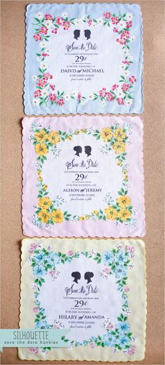 Customized Silhouette Wedding Hanky Save the Dates