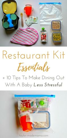 10 tips for how to make going out to eat with a baby less stressful and more enjoyable for the whole family. Create a Restaurant Kit with all the essentials you need to reduce the stress of dining out with babies. Keep it in the car, and you'll always be Restaurant Kit, Led Weaning, Mom Advice, First Time Moms, Traveling With Baby, Infant Activities, Baby Hacks, Raising Kids, New Moms