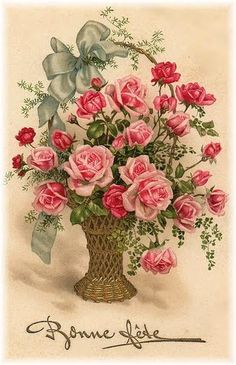 Basket of roses - Happy Birthday in French
