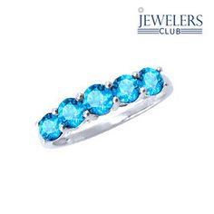 1.55ctw Genuine Blue Topaz Band Ring in Sterling Silver