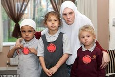 "UK Muslim convert sends her kids to school wearing stickers taped to their chests that say ""HALAL ONLY"""