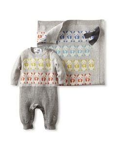 Bonnie Baby Blanket-Panda Applique Playsuit And Panda Shawl