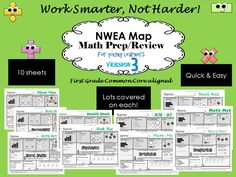****** BRAND NEW!!!!********* Math Mats for NWEA Map Review/Test Prep * aligned to Common Core * perfect for end of year K-1 * quick & easy * Prepare your students for vocabulary, question formatting, and review content * lots of concepts on each page!